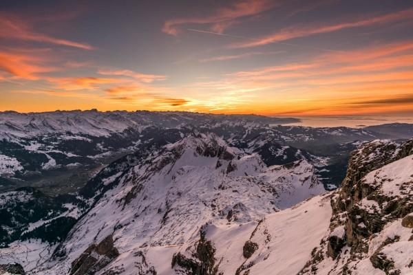 Säntis Blick Richtung Westen. Sonnenuntergang