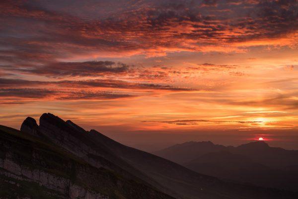 Sonnenuntergang auf dem Chäserrugg