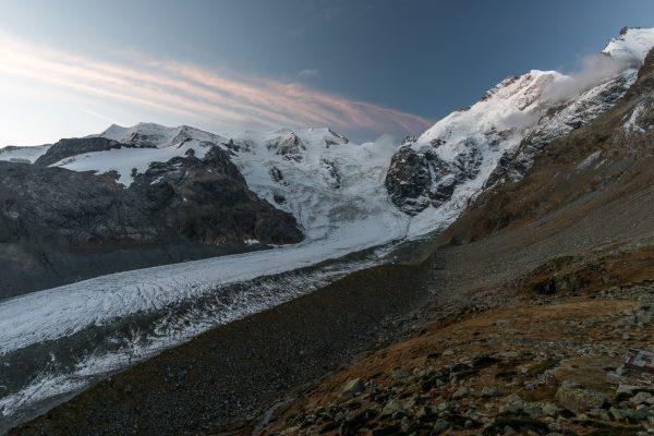 Biancograt und Waadter da Morteratschvor Sonnenaufgang
