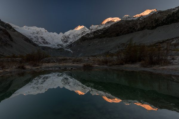 Morteratsch und Piz Bernina im Sonnenaufgang
