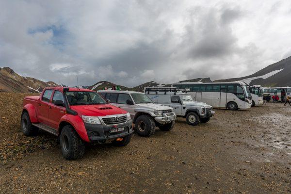 Jeep Parkplatz in Landmannalaugar