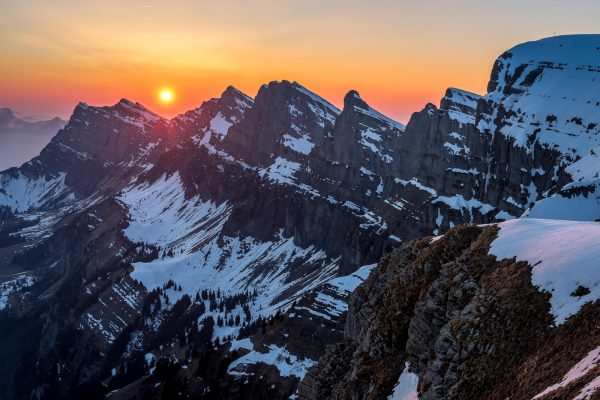 Sonnenuntergang hinter den Churfirsten