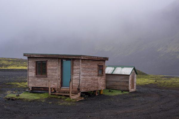 Geschlossene Hütte am Langisjórufer