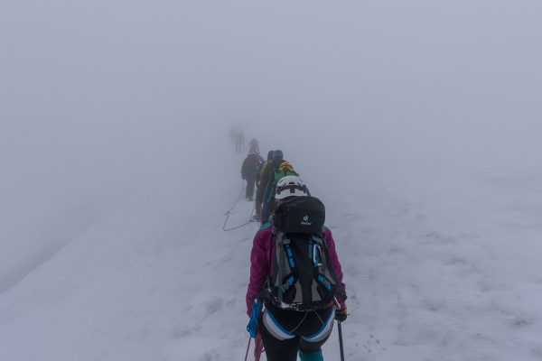Aufstieg im Nebel