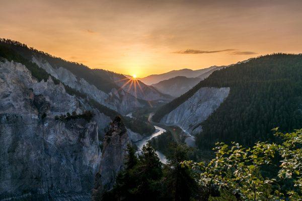 Rheinschlucht bei Sonnenaufgang