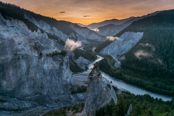 Rheinschlucht vor Sonnenaufgang
