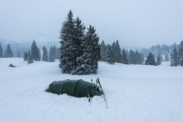 Zelt ist aufgestellt