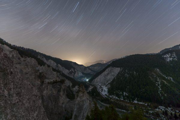 Sternenhimmel über der Rheinschlucht