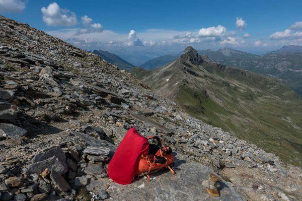 Rucksackdepot für den Gipfelaufstieg
