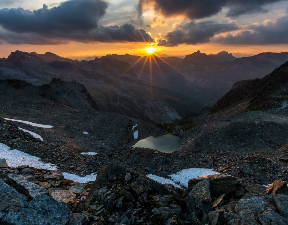 Sonnenuntergang über dem Piz Medel