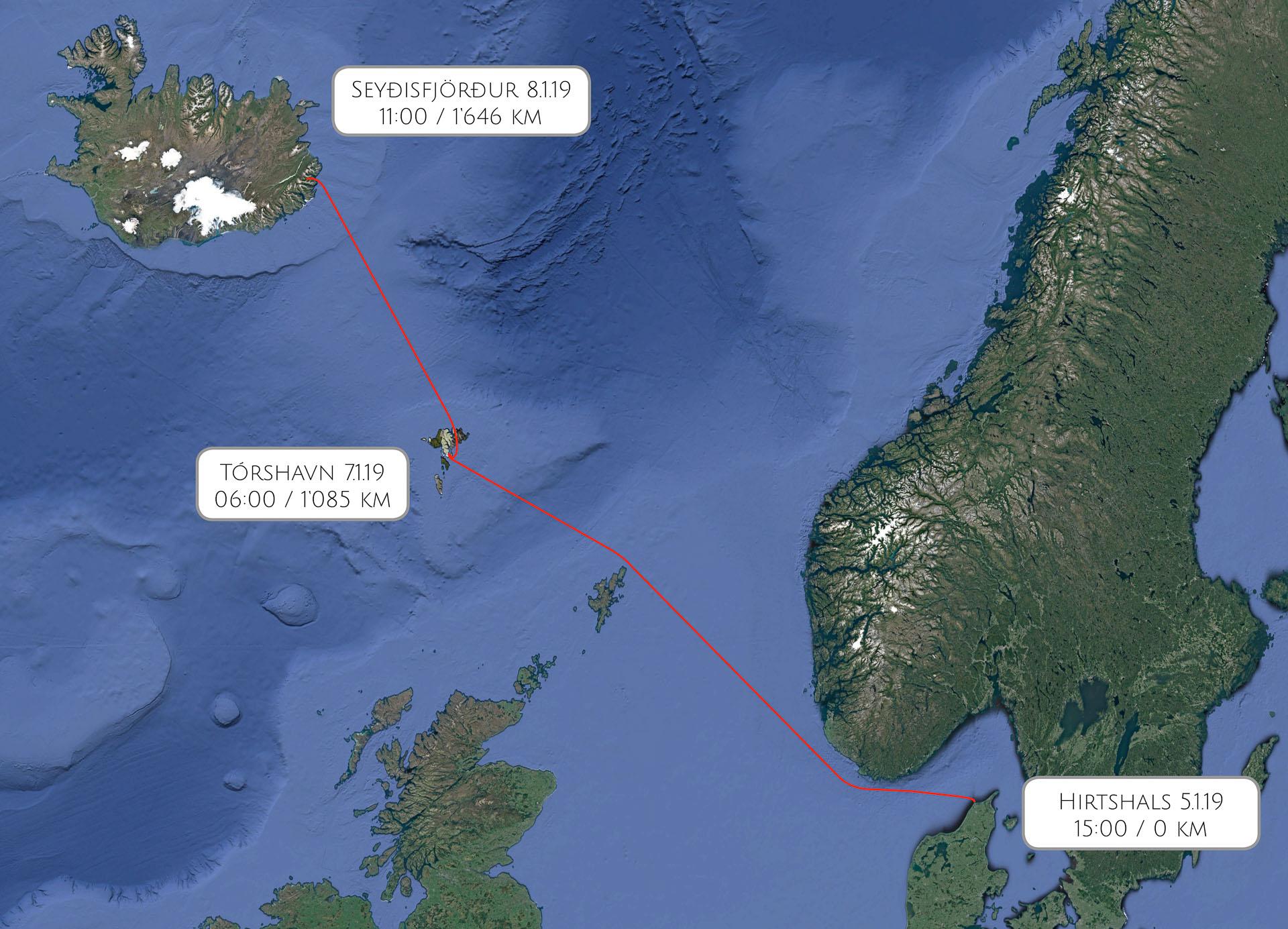 Route Hirtshals – Seyðisfjörður