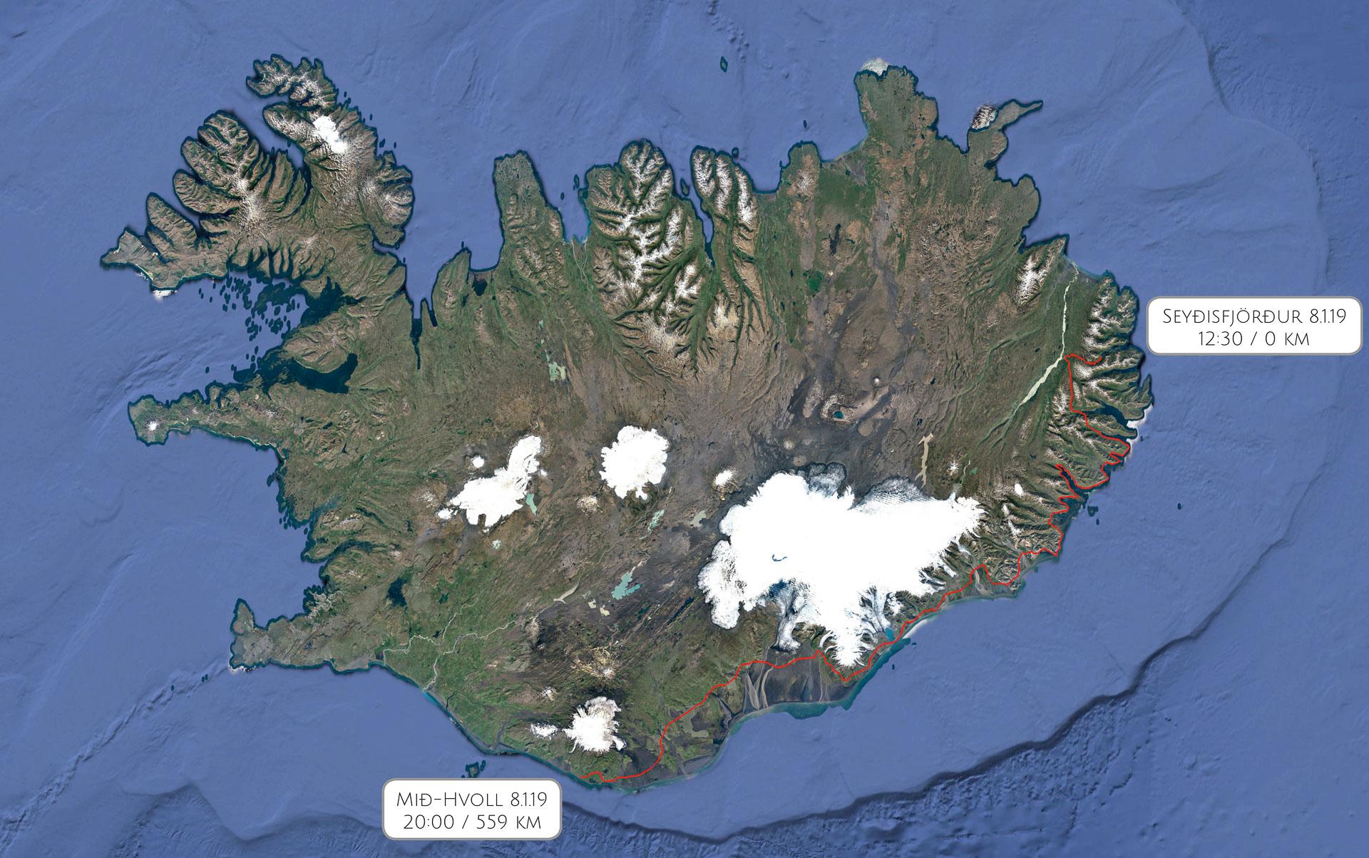 Route Seyðisfjörður - Mið-Hvoll