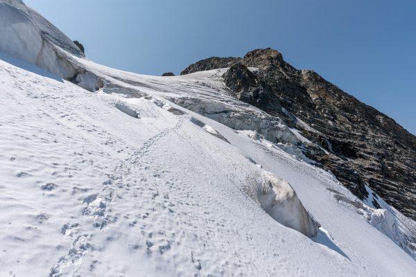 Steile Aufstiege über den Gletscher