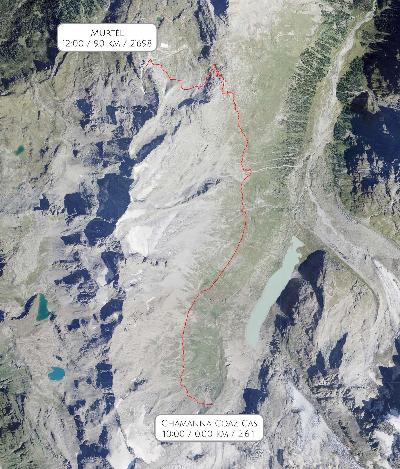 Route Chamanna Coaz CAS - Bergstation Murtèl