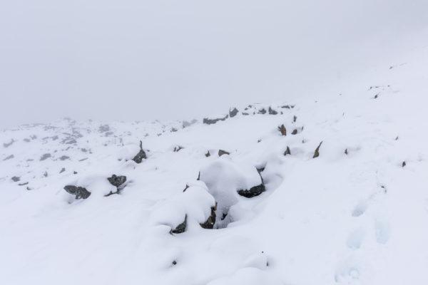 Abstieg durch den Neuschnee