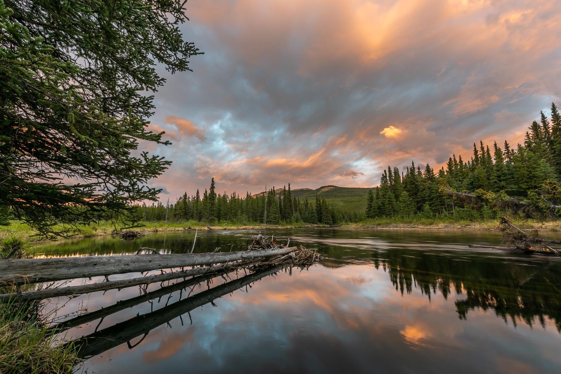 Abendstimmung am Rancheria River