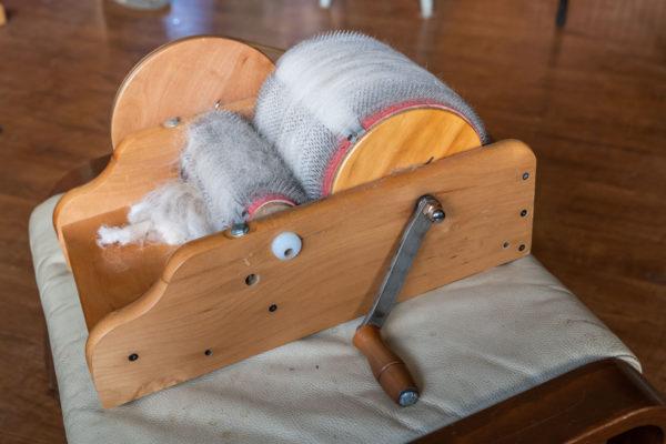 Vorbereitung der Alpaka Wolle