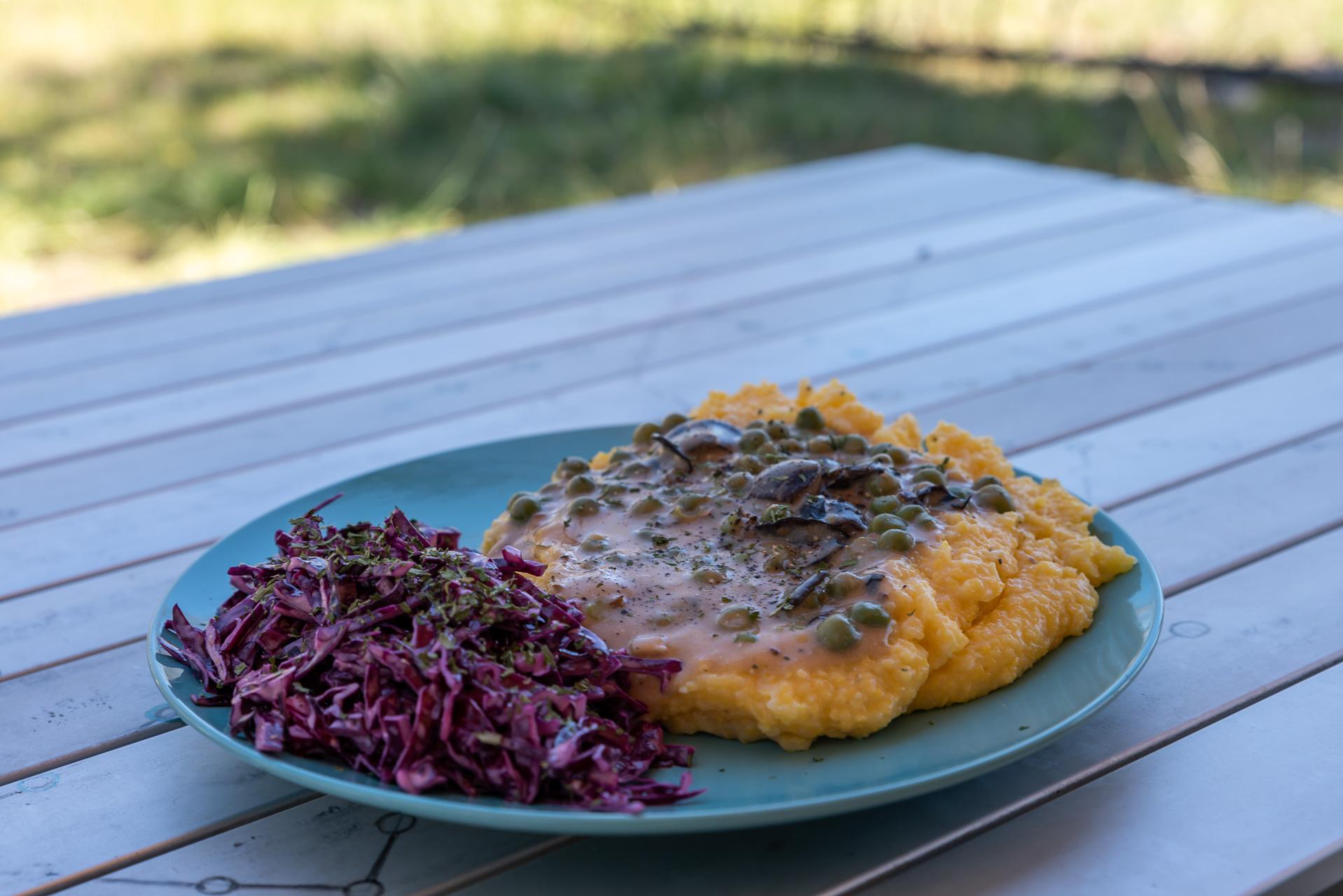 Polenta mit Erbsenpilz-Sauce und Rotkraut